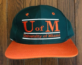 Vintage 90s The Game Miami Hurricanes NCAA Snapback Hat Baseball Cap 6a680c4cbbe6