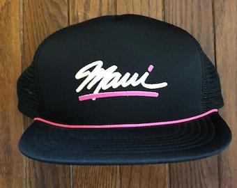 Vintage Hawaii Maui Vacation Tourist Travel Mesh Trucker Hat Snapback Hat  Baseball Cap 6b5c153bc078