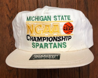 save off 45f2f b12aa Vintage 90s Michigan State Spartans NCAA Snapback Hat Baseball Cap   Made  In USA