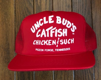 906b67fd1d26d ... hot vintage uncle buds catfish fishing tennessee mesh trucker hat  snapback baseball cap 8d556 1325b