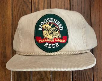fcc7191d4e3 Vintage Corduroy Moosehead Beer Trucker Hat Snapback Hat Baseball Cap Patch