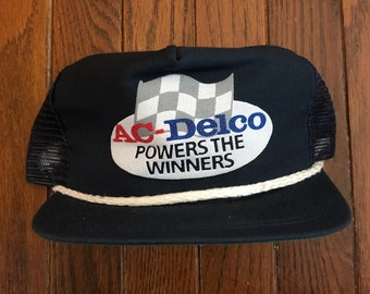 f1041b3ff1a Vintage AC Delco Racing Mesh Trucker Hat Snapback Hat Baseball Cap   Made  In USA