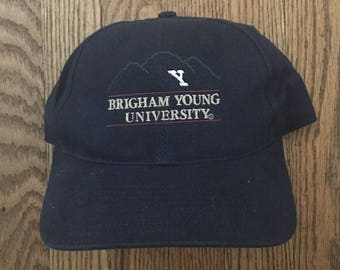 Vintage 90s Brigham Young University NCAA Strapback Hat Baseball Cap