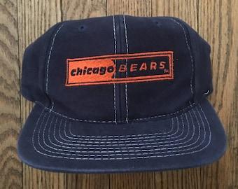 Vintage 90s Chicago Bears NFL Snapback Hat Baseball Cap