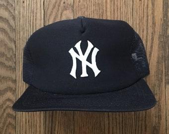 238f69d6ea3 Vintage 80s 90s Deadstock New York Yankees New Era Pro Design MLB Mesh  Trucker Hat Snapback Hat Baseball Cap   Made In USA - S M