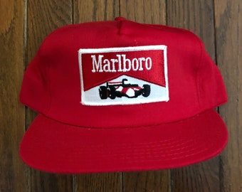 1c6d0d75c5d Vintage 80s 90s Marlboro Racing Team Cigarettes Tobacco Trucker Hat  Snapback Hat Baseball Cap Patch   Made In USA