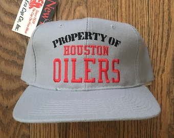 06d0aaefe3f Vintage 90s Deadstock Property of Houston Oilers NFL Football New Era Snapback  Hat Baseball Cap