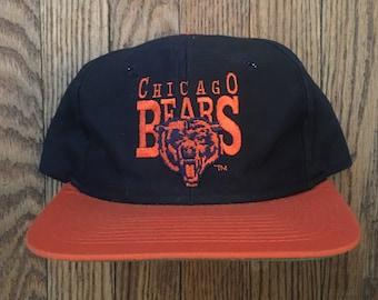 Vintage 80s 90s Chicago Bears NFL Snapback Hat Baseball Cap