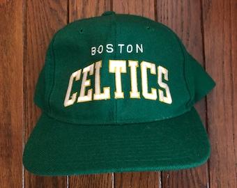 5d3d618368c Vintage 90s Boston Celtics Starter Arch Wool NBA Snapback Hat Baseball Cap