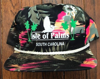 c722699c4beb5 Vintage 80s 90s Isle Of Palms South Carolina Floral Hawaiian All Over Print  Trucker Hat Snapback Hat Baseball Cap Patch