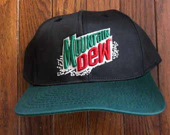 Vintage 90s Mountain Dew Soda Pop Soft Drink Snapback Hat Baseball Cap c15904883618