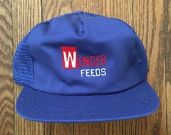 2492fcfe4ab9c Vintage Wenger Farm Farming Feeds Mesh Trucker Hat Snapback Hat Baseball Cap    Made In USA