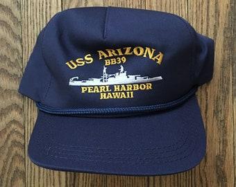 dcd118cd690 Vintage USS Arizona Pearl Harbor Hawaii Military Veteran Snapback Hat  Baseball Cap   Made In USA