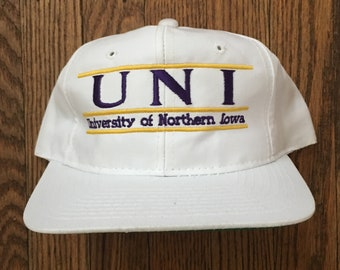 a01bf7e04f6 Vintage 90s The Game Northern Iowa NCAA Snapback Hat Baseball Cap