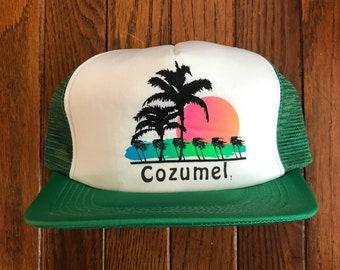 3f2456af Vintage 80s 90s Cozumel Mexico Vacation Tourist Travel Mesh Trucker Hat  Snapback Hat Baseball Cap