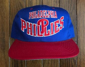 Vintage 90s Philadelphia Phillies Baseball MLB Snapback Hat Baseball Cap 7bc82570465a