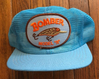 Vintage Bomber Full Mesh Trucker Hat Snapback Hat Baseball Cap Patch   Made  In USA 23d49fcd51e2
