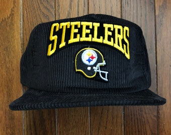 557c4b4a4 Vintage 90s Corduroy Pittsburgh Steelers Snapback Hat Baseball Cap   Made  In USA