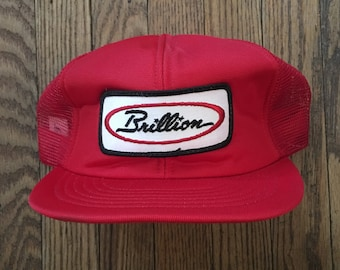 Vintage Brillion Mesh Trucker Hat Snapback Hat Baseball Cap Patch   Made In  USA 9e49fd9c320f