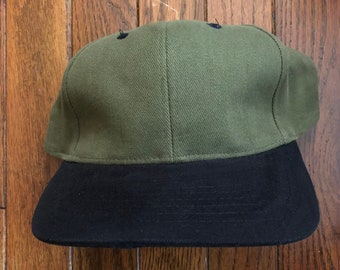 Vintage 90s Minimal Olive Blank Strapback Hat Dad Hat Baseball Cap b4fe6dc154f4