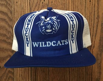 a2d2f6084ed Vintage 80s 90s Deadstock Kentucky Wildcats New Era Pro Design NCAA Mesh  Trucker Hat Snapback Baseball Cap   Made In USA