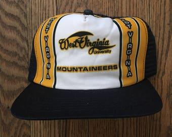 Vintage 80s 90s Deadstock West Virginia Mountaineers New Era Pro Design  NCAA Mesh Trucker Hat Snapback Baseball Cap   Made In USA 7805529abedd