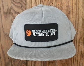 Vintage Corduroy Black   Decker Factory Outlet Snapback Hat Baseball Cap  Patch   Made In USA d3842286f188