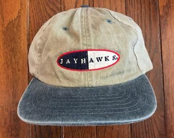 180e84452bf Vintage 90s Kansas Jayhawks NCAA Strapback Hat Baseball Cap
