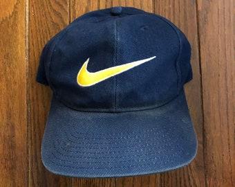 buy popular 58dc4 e9fde Vintage 90s Distressed Nike Big Swoosh Snapback Hat Baseball Cap