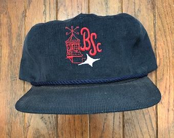 c53f5c5cc037b3 Vintage 80s 90s Corduroy BSC Strapback Hat Baseball Cap * Made In USA
