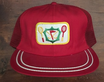 399bed76cf6 Vintage Tennis Mesh Trucker Hat Snapback Hat Baseball Cap Patch   Made In  USA