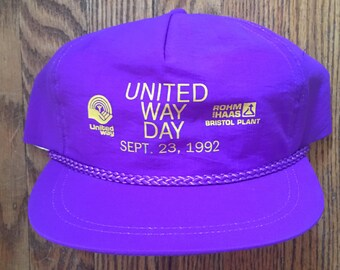 Vintage 90 s Neon Purple United Way Day Snapback Hat Baseball Cap 97328fe7ff3a