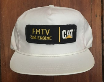 0172ffc9fae Vintage Cat Diesel Power Construction Equipment Excavator Bucket Loader  Strapback Hat Baseball Cap Patch
