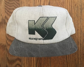 6da3e377e85 Vintage Minimal Kelly Tires Snapback Hat Baseball Cap   Made In USA