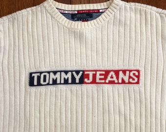 582b9c2933f Vintage 90s Tommy Hilfiger Stiped Sweater - Tommy Hilfiger - Large
