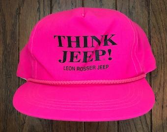 65dbd19bcf93ec Vintage 80s 90s Neon Pink Think Jeep Trucker Hat Snapback Hat Baseball Cap