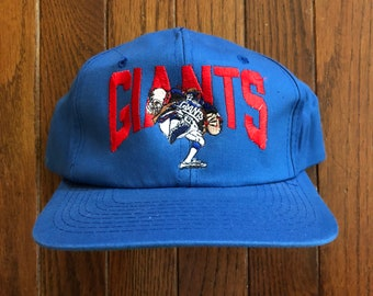 bde750e834ec9 Vintage 90s New York Giants Cartoon NFL Snapback Hat Baseball Cap
