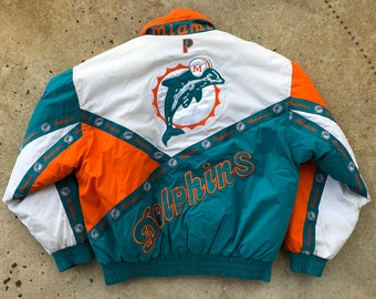 Vintage 90s Miami Dolphins Color Block Pro Player NFL Winter Jacket - Large 972ff9721
