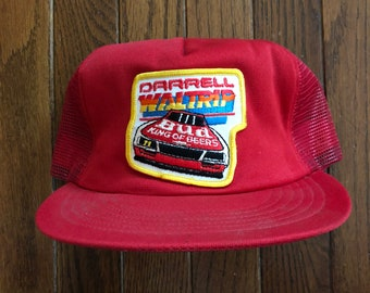 Vintage 80s Bud Budweiser Racing Darell Waltrip Beer Mesh Trucker Hat  Snapback Hat Baseball Cap Patch   Made In USA 0f0a15bc9040