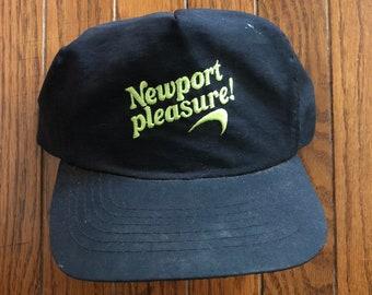 ff36447f9b6a3 Vintage 90s Distressed Trashed Newport Pleasure Cigarettes Tobacco Menthol Snapback  Hat Baseball Cap