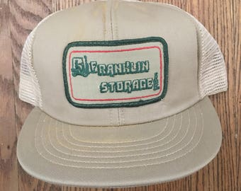 4986175de2f Vintage Franklin Storage Mesh Trucker Hat Snapback Hat Baseball Cap Patch    Made In USA. KapKingdom.  18.00. Vintage Bandog Tires Denim ...