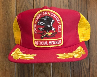 81a780da8c5 Vintage 80s 90s North American Hunting Club Official Member Mesh Trucker Hat  Snapback Hat Baseball Cap Patch
