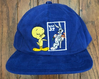 best website 73a74 8ad15 Vintage 90s Deadstock Bugs Bunny   Tweety Stamp Snapback Hat Baseball Cap    Made In USA