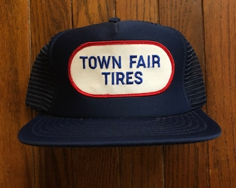 5a77be7eb74 Vintage 80s 90s Town Fair Tires Mesh Trucker Hat Snapback Hat Baseball Cap  Patch