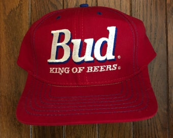 e94027a378c Vintage 80s 90s Bud Budweiser Budweiser the King of Beers Snapback Hat  Baseball Cap   Made In USA