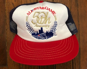4323b24553a Vintage 80s 90s Chicago White Sox All Star Game MLB Mesh Trucker Hat  Snapback Hat Baseball Cap   Made In USA