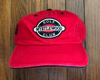 Vintage 90s Minimal Golf Club Myrtlewood Unstructured Strapback Hat  Baseball Cap addf64192d88
