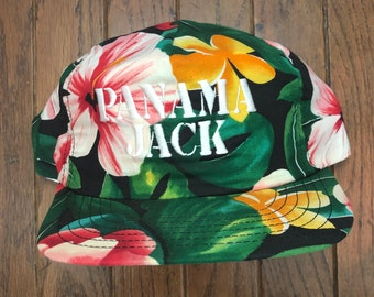 d78faa50 Vintage 80s 90s Panama Jack Floral Hawaiian All Over Print Trucker Hat  Strapback Hat Baseball Cap * Made In USA