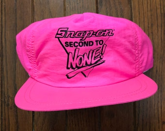 6b2647f9 Vintage 90s Neon Pink Snap On Tools Strapback Hat Baseball Cap * Made In USA