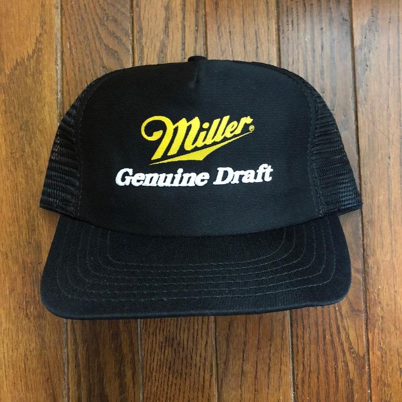 35777d2faef Vintage 80s 90s Miller Genuine Draft MGD Beer Mesh Trucker Hat